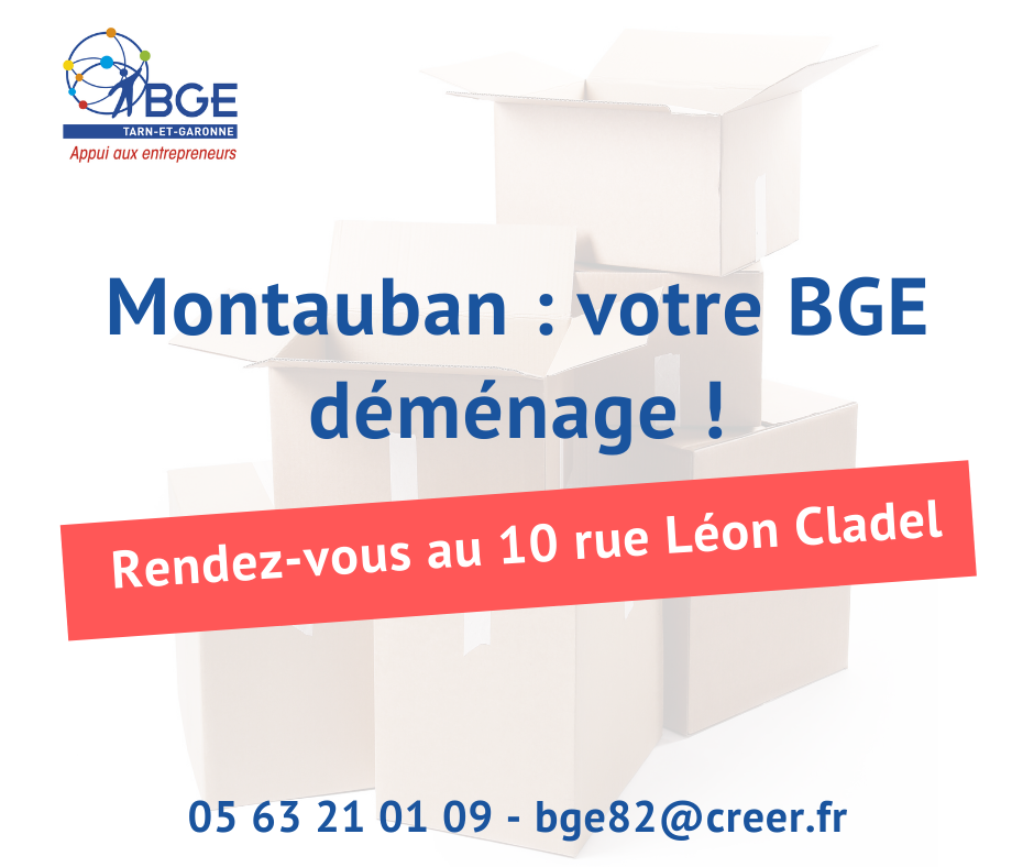 Déménagement BGE Montauban - rue léon Cladel - décembre 2020